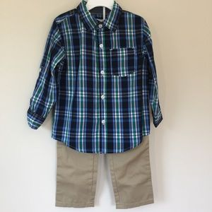 Kids Headquarters 2-Pc. Plaid shirt & pants sets